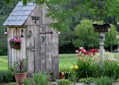 Cute Garden Shed for storing tools we use in the garden. Love the surroundings, everything is super pretty!!