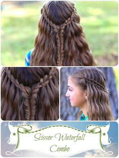 Scissor Waterfall Braid Combo..an awesome and easy twist on the waterfall braid! #hairstyles #CuteGirlsHairstyles #CuteGirlHair #Braid #Braids #Waterfallbraid