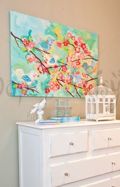 """Cherry Blossom Birdies"" Original Color Way Stretched Canvas Art by Winborg Sisters for Oopsy Daisy in sizes 24x18 $119 and 40x30 $249 (Also available in our Shadowbox Frame!)"