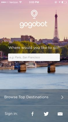 Gogobot Travel Guide app splash page