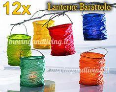 Vendita 12 pz. Lanterne Barattolo di Carta da Appendere Cilindriche Multicolor Colorate per soli €24,90!!!