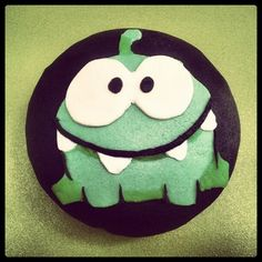adorable monster of cut the rope cupcake
