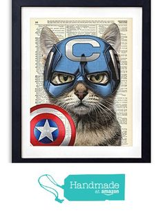 Captain Cat America Super Hero Vintage Upcycled Dictionary Art Print - 8x10 inches from Vintage Book Art Co. https://smile.amazon.com/dp/B01LBBCLYE/ref=hnd_sw_r_pi_dp_7f2tybXZKFKY0 #handmadeatamazon