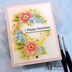Impression Obsession Cards, Tombow Markers, Flower Stamp, Pretty Flowers, Scissors, Card Making, Happy Birthday, Fancy, Make It Yourself