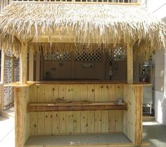 Get great tiki bar ideas before you build it! Use bamboo, make stools, mount a television, even have authentic tiki reeds on the roof! Pool Bar, My Pool, Diy Bar, Cabana, Diy Außenbar, Tikki Bar, Outdoor Tiki Bar, Outdoor Decor, Bar Shed