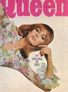 English fashion model Jean Shrimpton on the cover of the January issue of Queen magazine, published by Jocelyn Stevens, United Kingdom, 1964, photographer unknown.