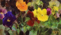 DANIEL J KEYS   Pansy Study   oil Daniel Keys, Daniel J, Sunflower Bouquets, People Art, Pansies, Artist At Work, Daydream, Still Life, It Works