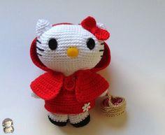 Hello Kitty Caperucita Roja Amigurumi - Patrón Gratis en Español  aquí: http://www.artedetei.com/2014/03/hello-kitty-caperucita-roja-amigurumi.html