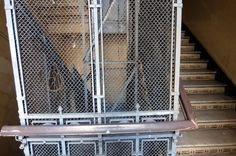 the original staircase and the lift.is still in use.