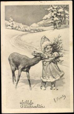 Künstler Ak Feiertag, Karl, Frohe Weihnachten, Mädchen mit Reh, Schnee, BKWI | eBay