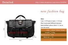2016 new women bags Vintage shoulder bolsos carteras mujer marcas famosas Punk style skull women leather handbags   Read more at Bargain Paradise : http://www.nboempire.com/products/2016-new-women-bags-vintage-shoulder-bolsos-carteras-mujer-marcas-famosas-punk-style-skull-women-leather-handbags/      Product Detailed         Product Name:       women bags       SIZE:       35cm(L)*24cm(L)*15cm(W)       weight:       1kg       Material:       PU       PRODUCT ID:       ME3