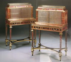 A pair of George III 'Boulle' marquetry tortoiseshell,  brass, pewter and rosewood writing cabinets, early 19th century,  possibly by Thomas Parker.