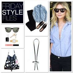 Ashley Olsen // such restrained gorgeousness - proving less is totally more //   #fridaystylefiles #ashleyolsen #celebrity #style #streetstyle #fashion #ideas #chambray #denim #leather #necklace #outfit #bag #handmade #sunglasses #rayban
