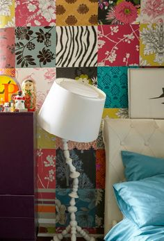 Create a bold-patterned patchwork feature wall using wallpaper samples   #IKEAIDEAS for a creative bedroom