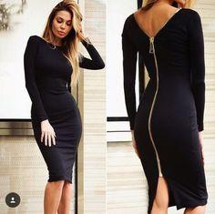 Платье шикарное силуэтное однотонное с молнией по всей спине черный