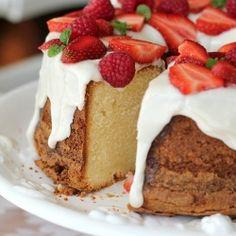 Cream cheese pound cake served with snowy white glaze
