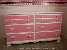 Adventures of a DIY Mom: Pretty In Pink...Dresser Makeover