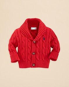 Ralph Lauren Childrenswear Infant Boys' Shawl Collar Cardigan Sweater - Sizes 3-9 Months