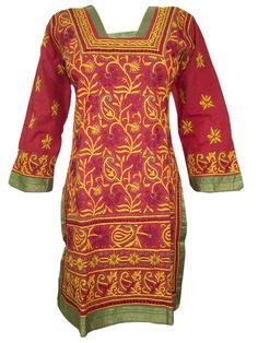 Indian Tunic Kurta Womens Kurti Embroidered Cotton Long Sleeve Yoga Dress Xx-small