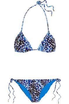 Matthew Williamson - Akita Printed Triangle Bikini - Bright blue - UK