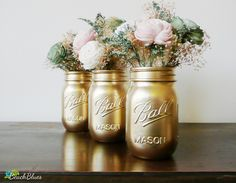 Wedding Decor Gold Painted Ball Mason Jars Vase by BeachBlues, $21.00