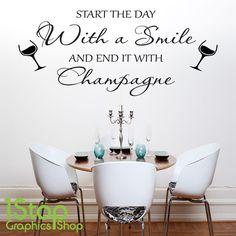 CHAMPAGNE SMILE WALL STICKER QUOTE - KITCHEN WINE X369