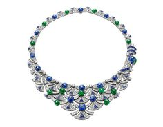 Bvlgari is still setting fashion standards. This is one of their Diva's Dream necklaces made with sapphire, emerald and diamonds...magnificent. #Bvlgari #sapphires #emeralds #necklace #jewelry #jewelrydesign #jewels #diamond #diamonds #custom #love #stunning #beautiful #color #finejewelry #highendjewels