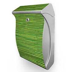Burg Wächter Briefkasten Swing Silber Postbox Briefkasten mit Motiv: Bambus Grün