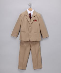 Look at this LA Sun Khaki & Red Vintage Suit - Infant & Boys on #zulily today!