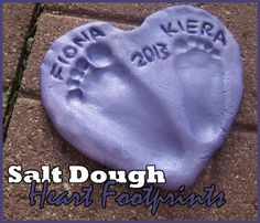 salt dough heart footprints gift toddler activity ok this is showing footprints but salt dough is what I remember as a kid when making homemade Christmas tree ornaments  with cookie cutter & poke a hole in the top with a toothpick.
