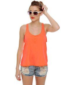 LuLu*s [O'Neill Perry Neon Orange Tank Top] -- $34.00 #lovelulus