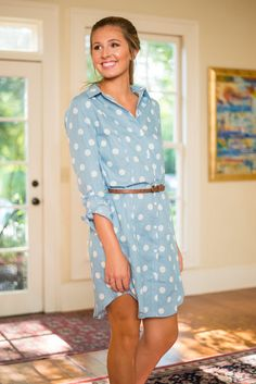 Polka Dot Perfection Dress, Light Blue