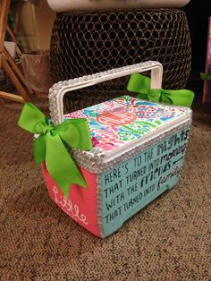 sorority cooler..do something different on the side that says little and use it for summer nights with your friends