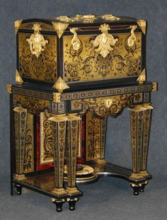 This Boulle coffer on stand, currently on display at the Lewis Walpole Library in Farmington, is almost certainly that which was owned by Horace Walpole at Strawberry Hill Antique Sofa, Antique Boxes, Antique Furniture, Furniture Styles, Furniture Design, French Architecture, Coffer, Louis Xiv, French Interior