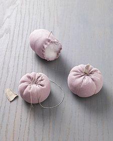 Martha Stewart, how to make fabric pumpkins.