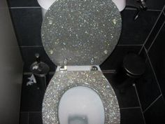 glitter toilet seat for my girls only bathroom of the future