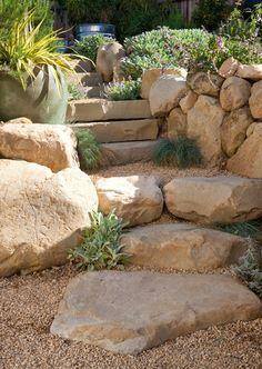 Beautiful boulder steps – natural rock steps – plantings soften edges – stachys byzantine – festuca