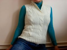 SALE % 25 off Ivory Wool Vest, Cable Knit Sweater