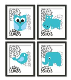 Nursery art elephant, hippo, owl, bird ,botanical,blue and gray (4 pieces). $58.00, via Etsy.