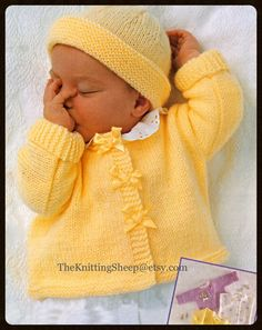 "PDF Knitting Pattern - 3 Designs of Babies/Newborns Cardigans/Waistcoat To Fit 17-23"" Chests & Beanie Hat - Easy Knit - Instant Download"