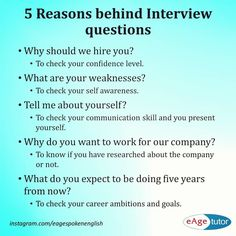 Ever wondered what interviewers think when they ask these questions?Ever wondered what interviewers think when they ask these questions? Here are some common interview questions and reasons behind them. Job Interview Preparation, Interview Skills, Job Interview Tips, Job Interviews, Interview Tips Weaknesses, Interview Coaching, Job Resume, Resume Tips, Resume Ideas