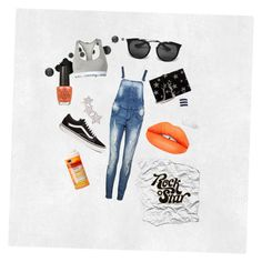 Starlig_t by z0hre on Polyvore featuring polyvore, fashion, style, Boohoo, Calvin Klein, American Apparel, Vans, Yves Saint Laurent, Alinka, Prada, Moschino, Sugarpill, OPI, clothing, denim, YSL and jumpsuit