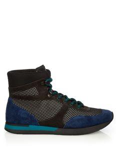 BOTTEGA VENETA Hiking Suede And Mesh High-Top Trainers. #bottegaveneta #shoes #sneakers