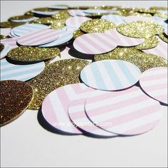 Handmade confetti in baby blue and pink stripes with your choice of glitter will add sparkle to baby showers, gender reveal parties and twin celebrations! Sprinkle on your reception and dessert tables