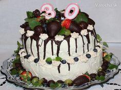 Kakaovo-orechová torta s mascarpone a ovocím (fotorecept)