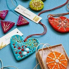 30 Cool & Crafty Gifts Kids Can Make - Beaded Clay Necklaces: Surprise someone with a boho-inspired mosaic necklace your child can proudly - Mother's Day Projects, Projects For Kids, Diy For Kids, Gifts For Kids, Kids Crafts, Clay Crafts, Arts And Crafts, Diy Niños Manualidades, Gifted Kids