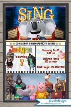 Sing Movie Birthday Invitation, Illumination Sing Movie Birthday Invitations
