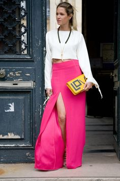 """Helena Bordon, blogger  """"I'm wearing a Celine top with a Lilly skirt and Luisa Beccaria shoes. My bag is by Maria Sole."""" Photo By Dvora"""
