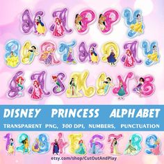 DIsney princess digital alphabet - great and fun to use for kids party decorations, themed birthdays, cupcake toppers. Party supplies for birthday and girl party decoration. #abc #alphabet #disney #kids #birthday #ariel #jasmine #snowwhite #rapunzel
