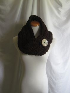 Cowl Chunky Bulky Button Crochet Cowl: Chocolate Brown with Ceramic Glazed Button